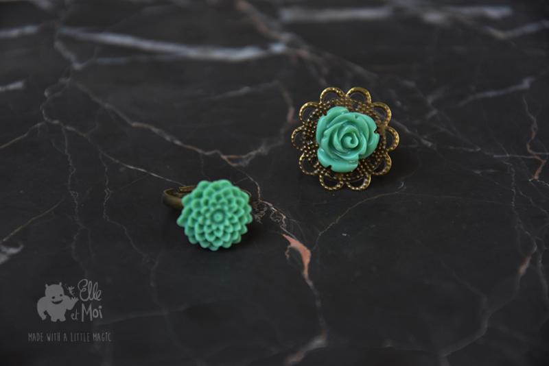 verstelbare ring romantisch mintgreen flower