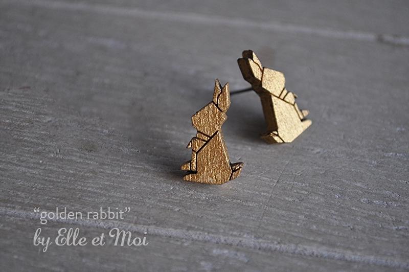 oorstekers 'golden rabbit' - eigen ontwerp - lasercut