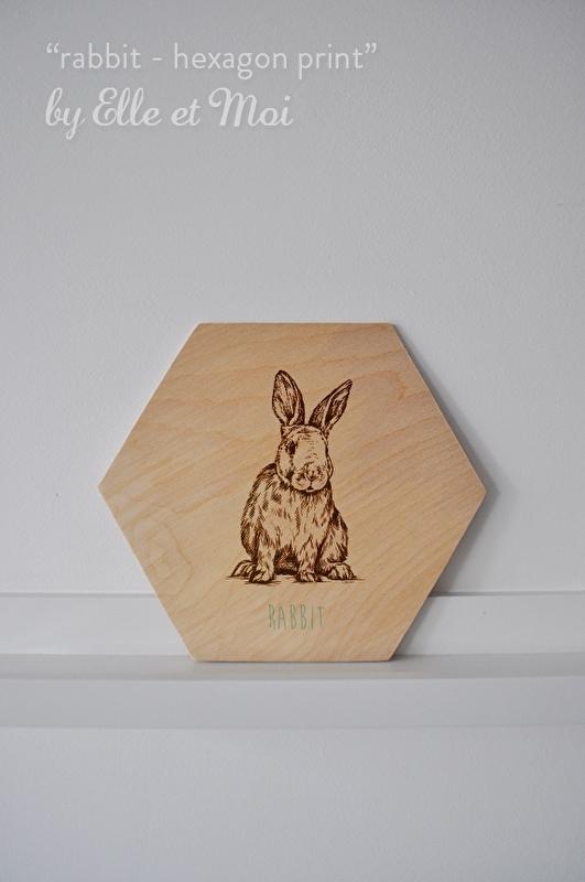 Hexagon Rabbit - print op hout | handgemaakt