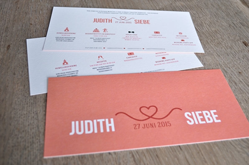 Ontwerp uitnodiging huwelijk Judith & Siebe - op maat