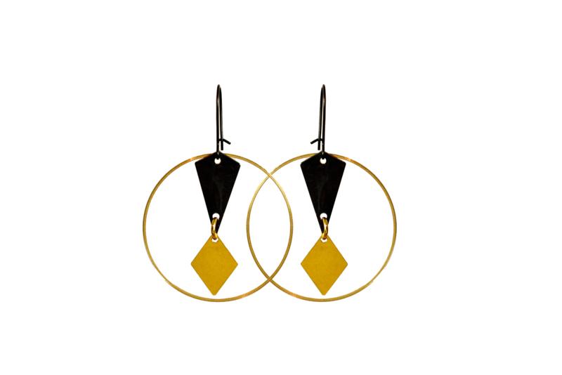 Oorhangers Black & Gold 'Marianne'