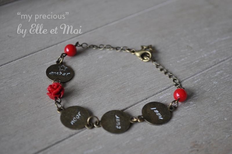 gepersonaliseerd armbandje 'my precious' brons • 4 naamplaatjes •