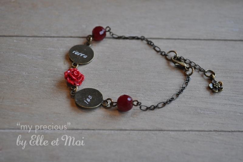 gepersonaliseerd armbandje 'my precious' brons • 2 naamplaatjes •