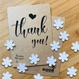 Kaart Thank you! - confetti bloemzaadjes