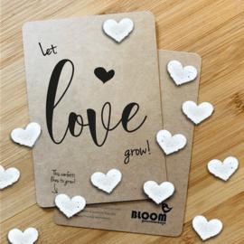 Kaart Let love grow! - confetti bloemzaadjes