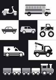 Poster voertuigen zwart-wit A4