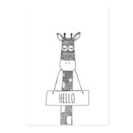 Poster Giraffe Hello A4