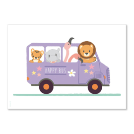 Poster Happy dieren bus A4