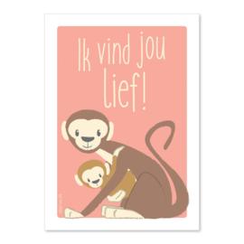 Ansichtkaart Apen Ik vind jou lief!