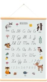 Schoolplaat Bosdieren Alfabet - blauw
