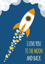 Poster I love you to the moon and back blauw A4