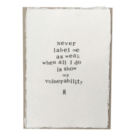 Poster Gedicht Never op handgeschept papier A5