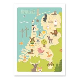 Nederland dieren poster 50 x 70 cm