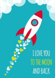 Poster I love you to the moon and back aqua A4