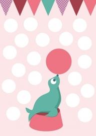 Poster Zeehond mintgroen en roze A4