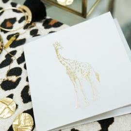 Wenskaart Giraffe Goud