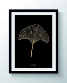 Kaart Ginkoblad zwart goud