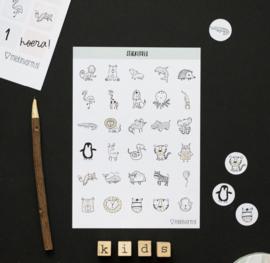 Aftelposter met dieren stickers A4