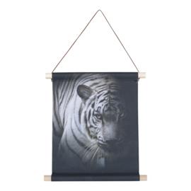Textiel poster Witte Tijger 38x30 cm