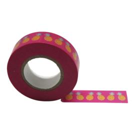 Masking tape Ananas roze