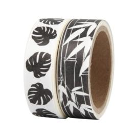 Masking tape set Bladeren zwart-wit