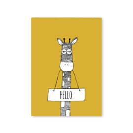 Ansichtkaart Giraffe Hello