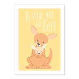 Ansichtkaart Kangaroe Ik vind jou zo lief!