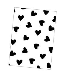 Kaart zwart-wit hartjes