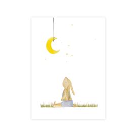 Kaart Konijn kijkend naar de maan