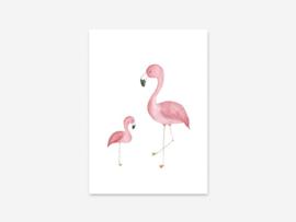 Kaart Flamingo moeder en kind