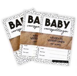 Babyshower invulkaarten 10x - zwart-wit
