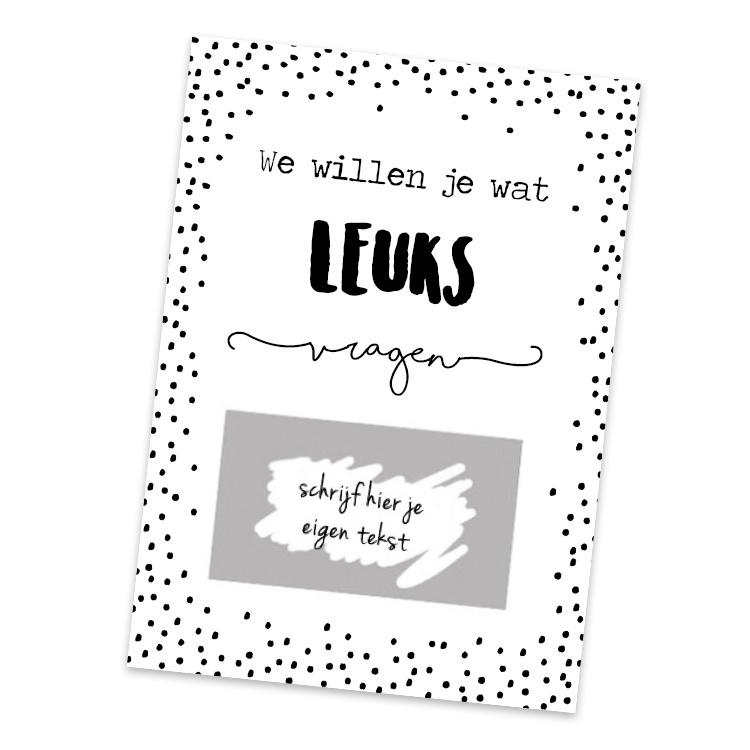 Kraskaart - DIY - We willen je wat leuks vragen