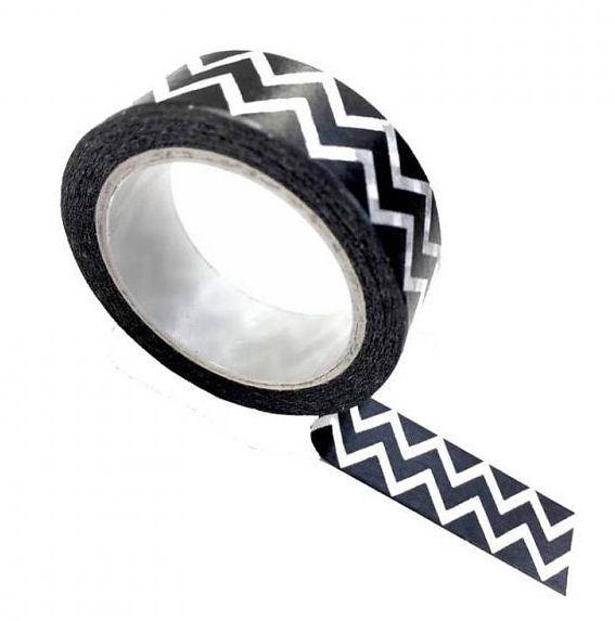 Masking tape zwart met witte zigzag