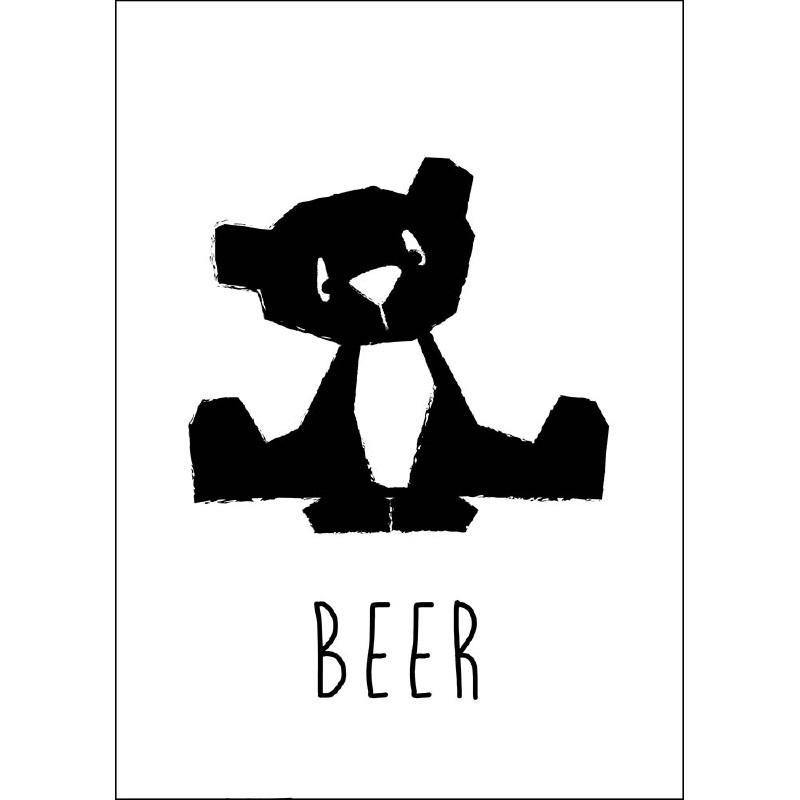 Kaart Beer zwart-wit