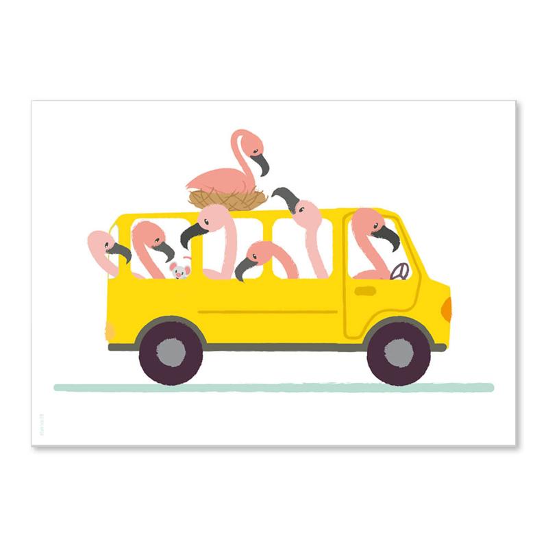 Poster Flamingo bus A4