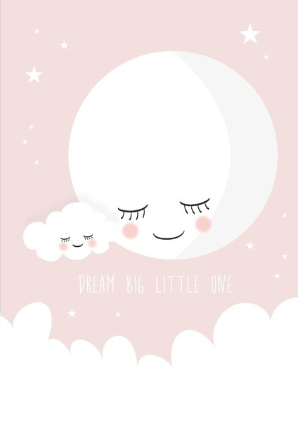 Poster Dream big little one roze A4