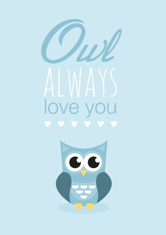 Poster Owl always love you blauw A4