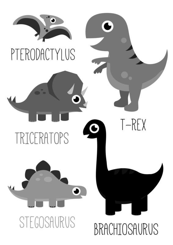 Poster Dinosaurus zwart-wit A3