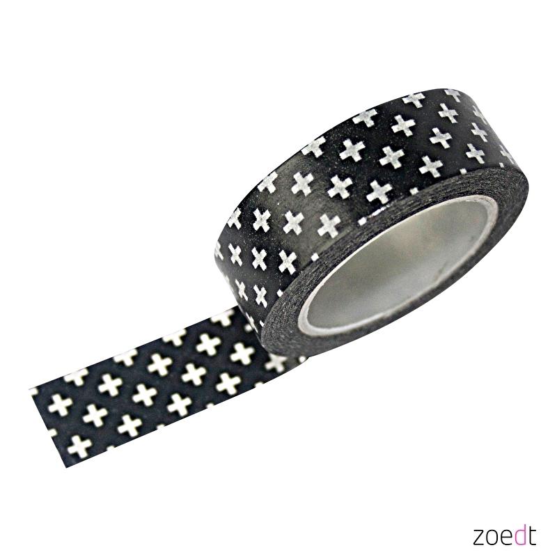 Making tape zwart met witte plusjes