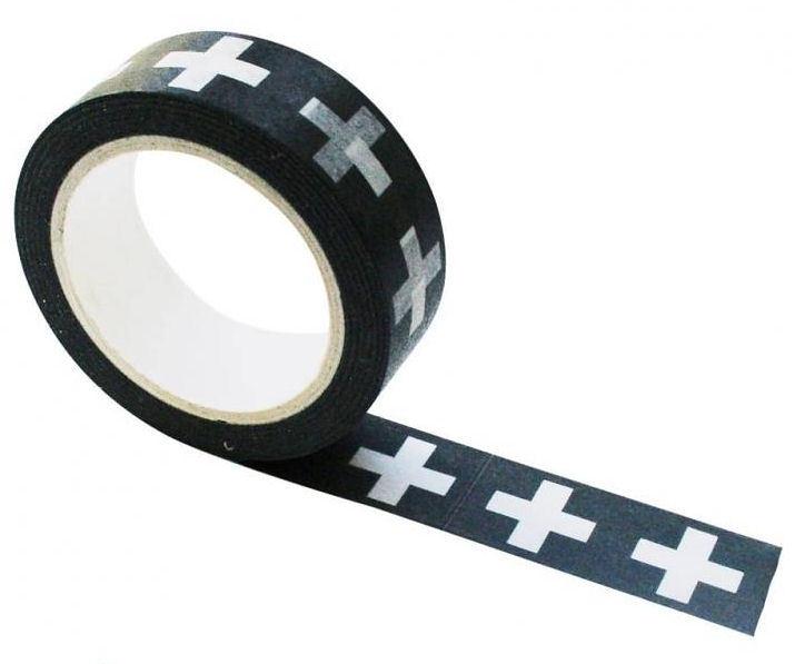 Masking tape zwart-wit grote plus