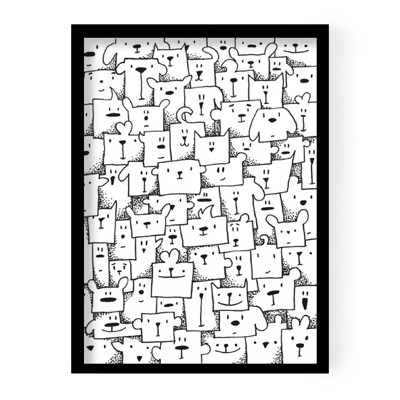 Poster Boxed animals 50 x 70 cm