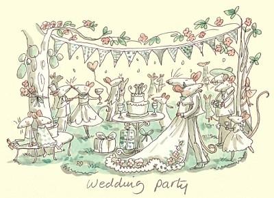 Wenskaart Wedding party