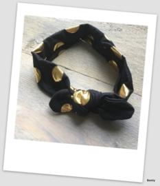 Knoop haarband - Dots - Zwart
