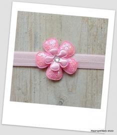 Babyhaarbandje small roze met pailletten