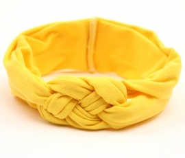 Haarband stof vlecht geel