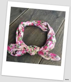 Knoop haarband - Roze bloemenprint