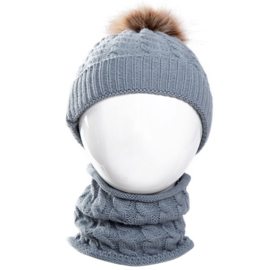 Winter setje - muts en sjaal - grijs