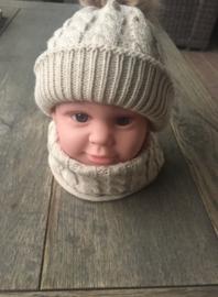 Winter setje - muts en sjaal - beige