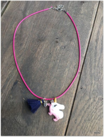 Ketting - Unicorn - Fuchisa/Navy