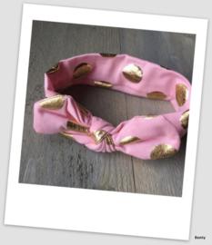 Knoop haarband - Dots - Roze